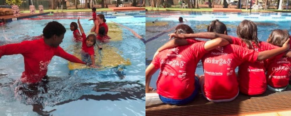 Martu children with their instructor in the pool at Newman