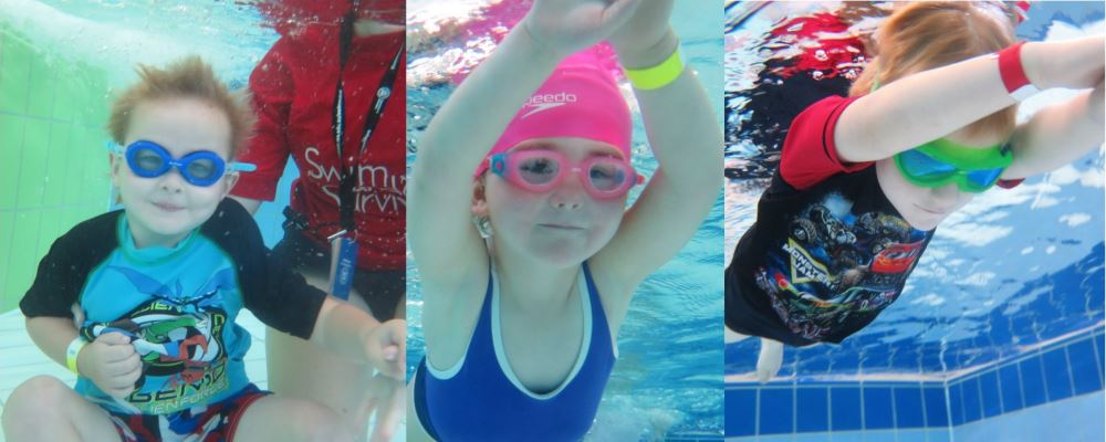 A collage of three kids enjoying swimming lessons as part of the recent swim and survive program