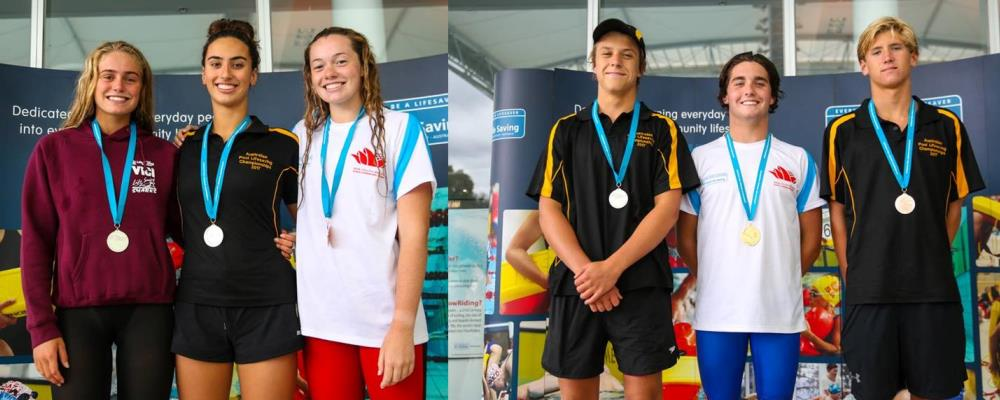 WA competitors standing on the podium with their medals at the National Championships