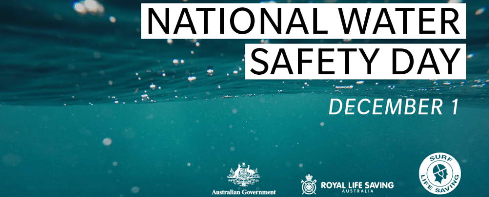 Image of underwater with National Water Safety Day caption