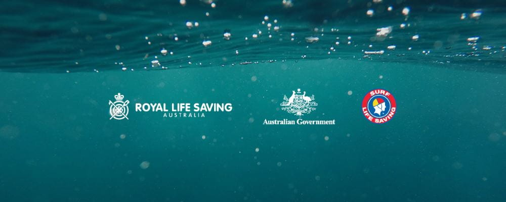 An image of water with the Royal Life Saving, Australian Government and Surf Life Saving logos