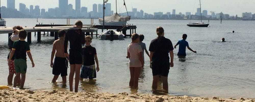 A group of Sea Scouts wade into Pelican Point as part of their recent River Requalification course