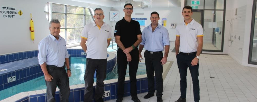 Royal Life Saving's Eddie Gibbs, Warren Goodwin and Travis Doye, with Darren Key and Michael Hodder from WAIS by the WAIS pool