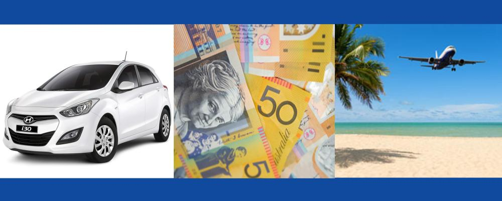 Image of a car, alongside image of cash, alongside image of an aeroplane flying over tropical beach