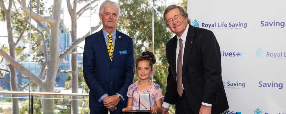 Bravery Award awardee Ruby-Maree Ugle receives her Gold Star Bravery Award