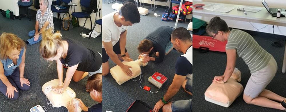 images of first aid staff practising CPR and defibrilator skills
