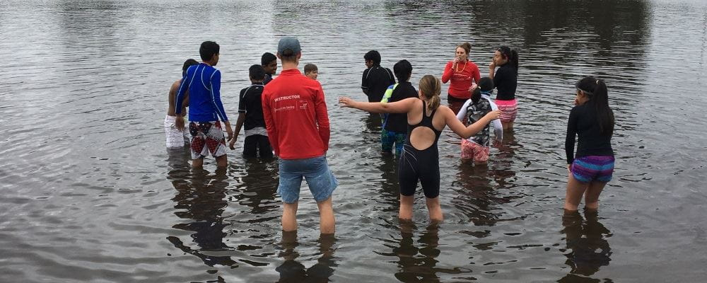 children braving the cold water at Riverton for Swim and Survive on the Swan