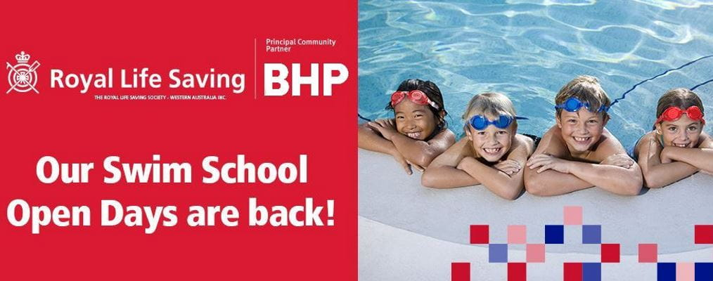Swim School Open Days are Back, with image of 4 children leaning on the edge of a pool smiling