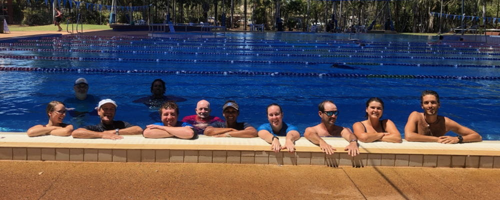 Talent Pool participants with Trainer Cameron Eglington in the  pool at Broome