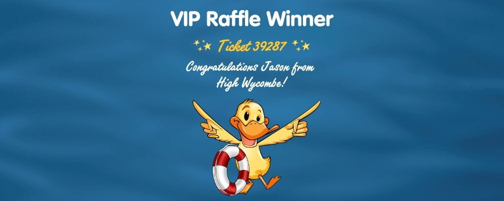 An image of a duck with a lifering and text saying VIP Raffle WInner