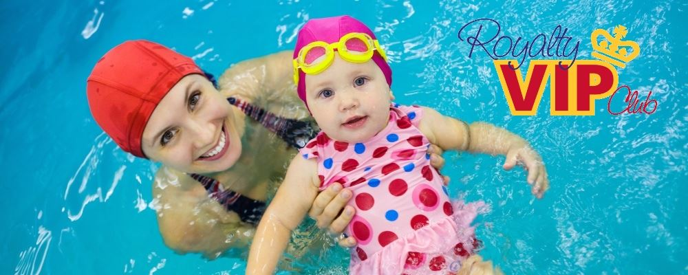 image of mother with baby girl in a pool