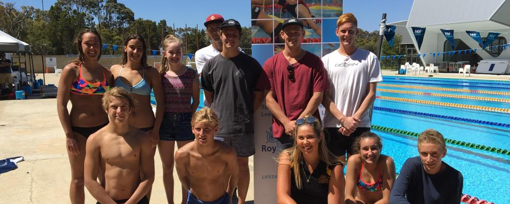 image of WA's Pool Lifesaving Team by the pool at HBF stadium