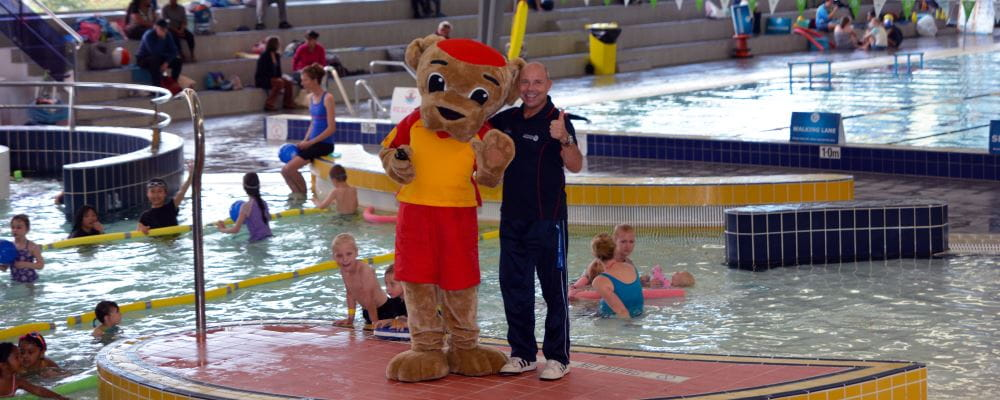 Walter with Requatic's Brad Miller by the pool at Kwinana