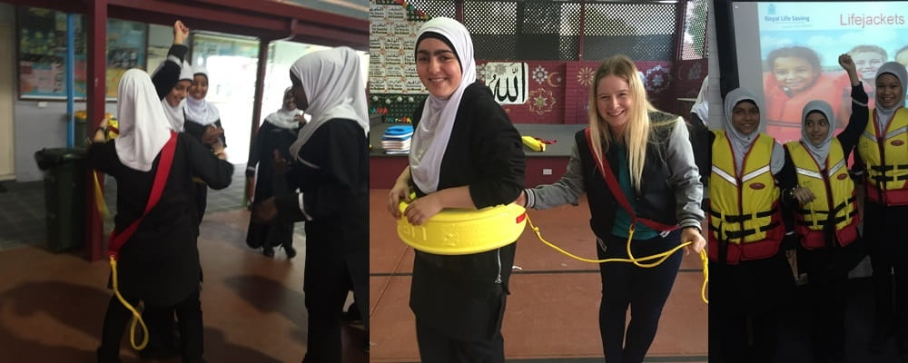 Left to right: Muslim girls learning to use a rescue tube; Royal Life Saving Society WA Inclusion Officer Jess Cruikshank teaching a Muslim student to use a rescue tube; three Muslim girls wearing life jackets