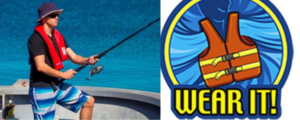 image of man wearing a lifejacket while fishing from a boat and the Wear It logo