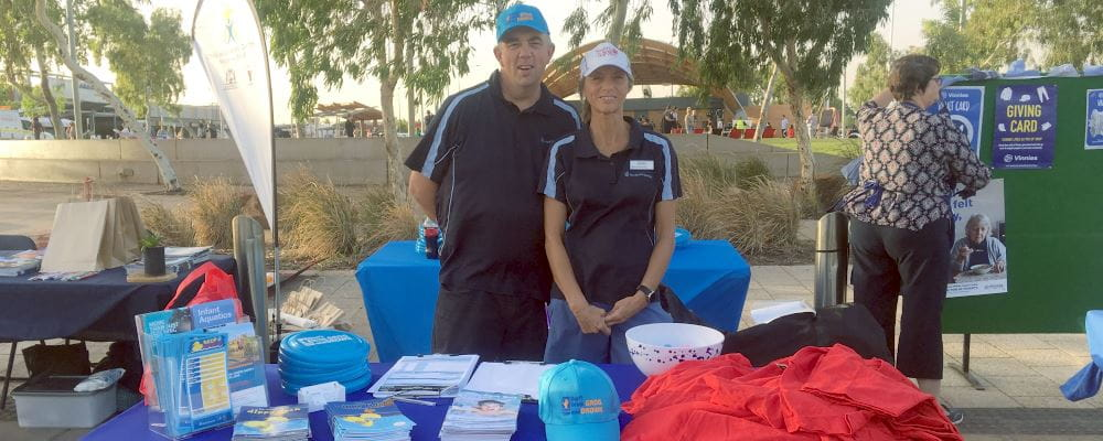 RLSSWA's Tim Turner and Jacqui Forbes at our stall at the Welcome to Hedland event