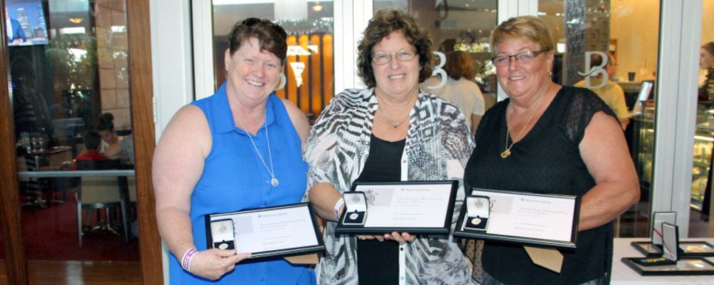 Wendy Cole, Marion Price and and Maureen Lasisz receiving their awards