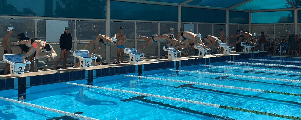 competitors diving into pool at lifesaving event