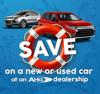 "An orange and white life ring with the wording ""Save on a new or used car at an AHG dealership"" with images of a silver and a red vehicle on a blue background"