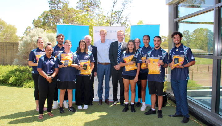 A group of talent Pool participants with Sport and Recreation Minister Mick Murray, Royal Life Saving WA's Greg Tate and Venues West CEO David Etherton