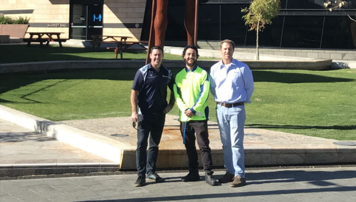 Travis Doye, Jay McLean and Peter Leaversuch at Yagan Square