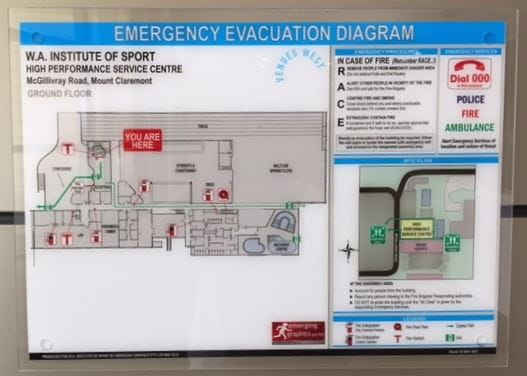 image of evacuation diagram mounted on wall