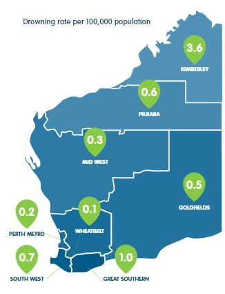 map of WA regions with inland waterway drowning rates
