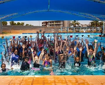 group of children in the South Hedland Aquatic Centre pool