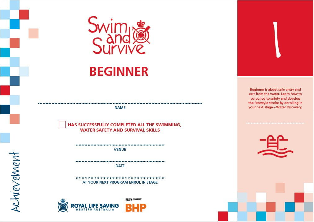Stage 1 Swim and Survive Certificate