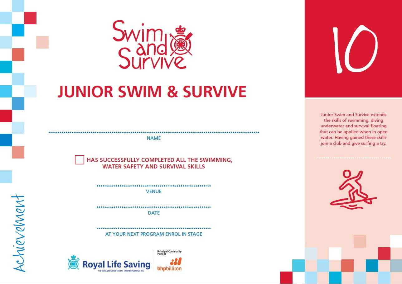 stage 10 junior swim and survive certificate