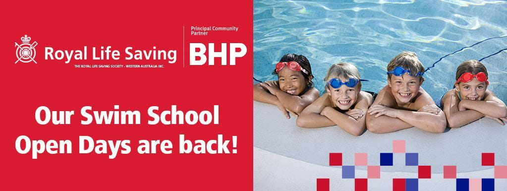 Image stating 'Our Swim School Open Days Are Back with picture of four kids in the pool wearing goggles on their head