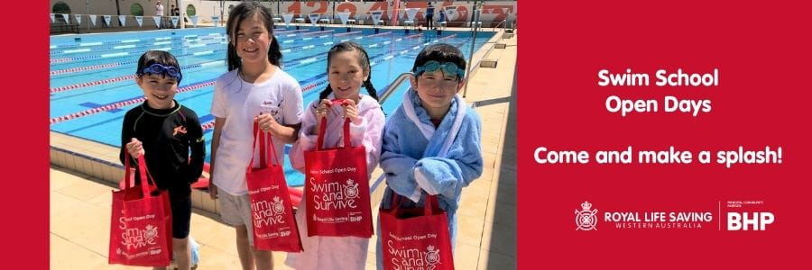 Four children by the pool with Swim and Survive bags