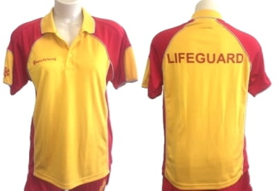 Front and back view of red and yellow lifeguard polo shirt