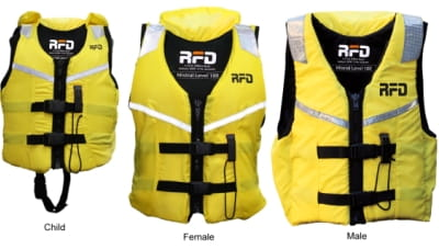 Yellow Mistral RFD life jacket in child female and male sizes