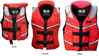 Red Sirocco RFD life jackets in child female and male sizes