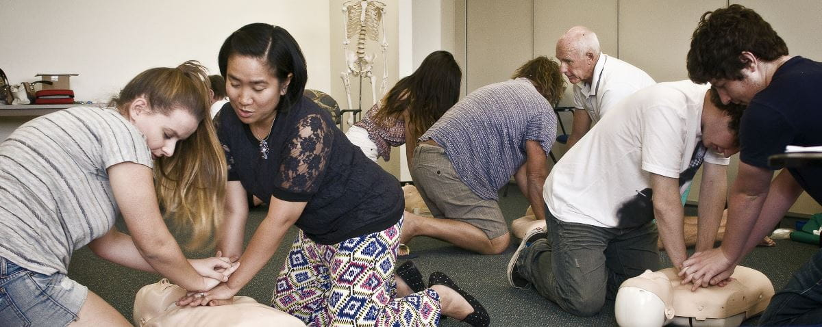Learning CPR in a First Aid Course
