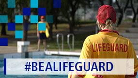 Lifeguards working at a swimming pool