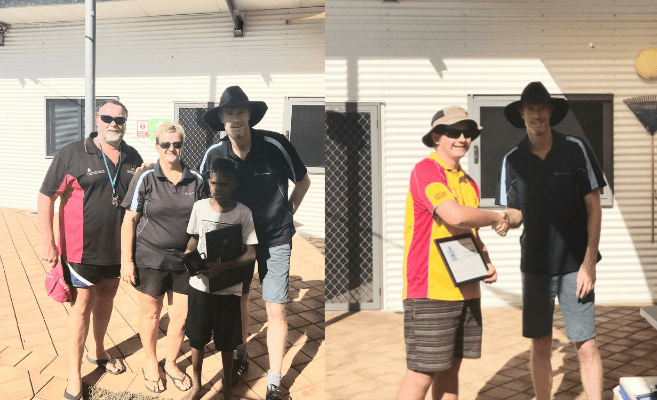 Fitzroy Crossing pool managers Trevor and Adele Caporn with RLSSWA staff and award recipients