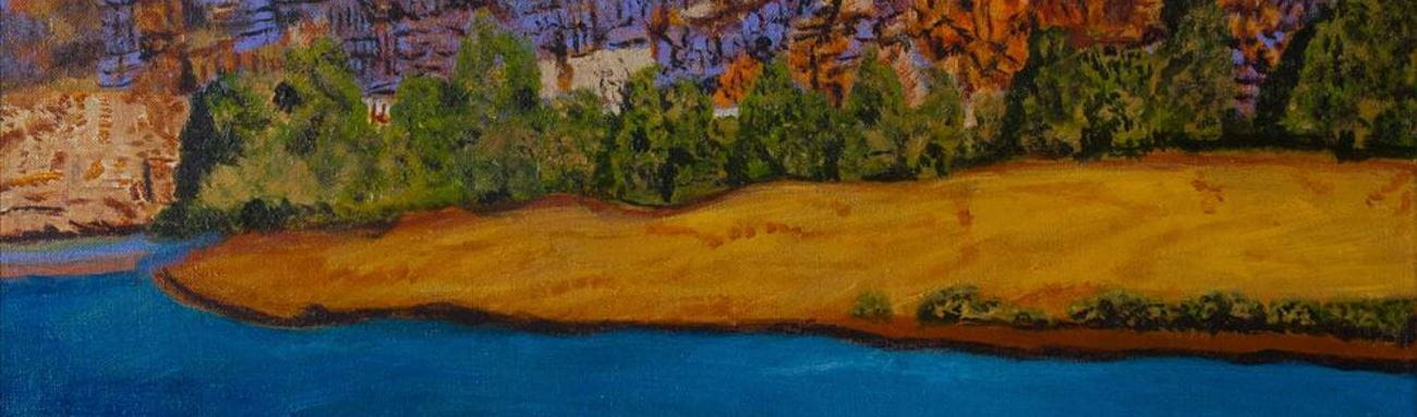 A painting of a Pilbara landscape with water in the foreground and red hills with green trees in the background