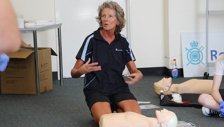 community trainer teaching first aid course