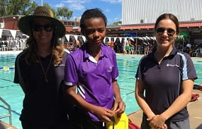 Student and two RLSSWA staff at Dianella Secondary College's Kooyar sport carnival