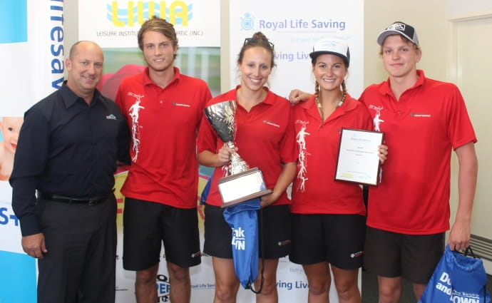 image of 2015 Pool Lifeguard Challenge winning team with their championship cup