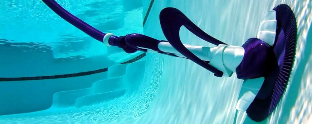 image of a suction pool cleaner in a pool