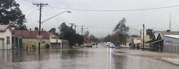 image of a flood road in a town
